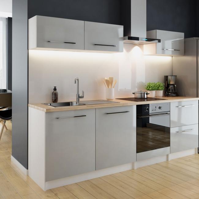 Gotowy zestaw mebli kuchennych Deftrans Brick szary połysk 6 elementów