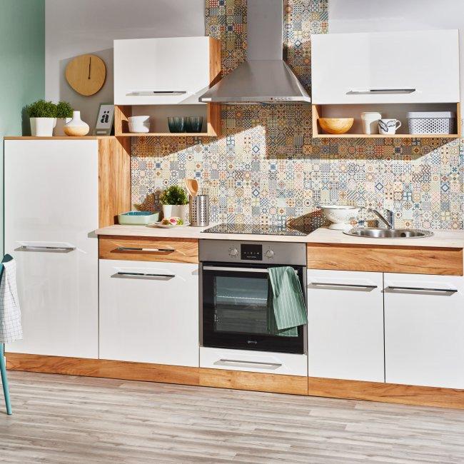 Gotowy zestaw mebli kuchennych Deftrans Double dąb złoty/biały