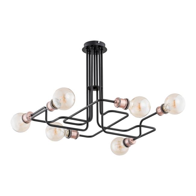 Lampa wisząca Hook 6 x 60 W E27 miedziana