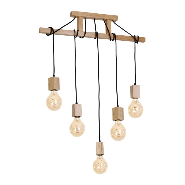 Lampa wisząca Jack 5 x 40 W E27 naturalne drewno