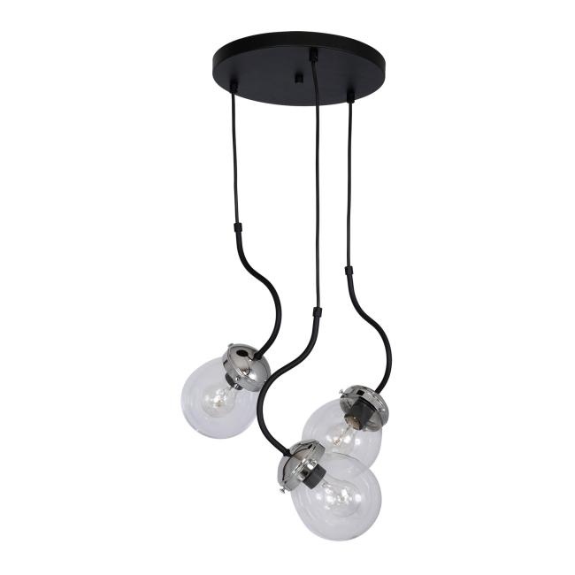 Lampa wisząca Luminex Natan 3 x 60 W E27 chrome/black