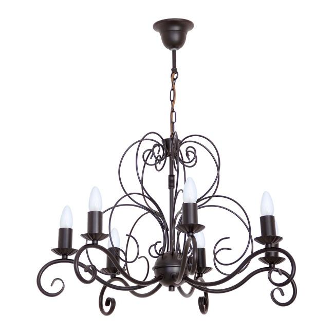 Lampa wisząca Mauro 7 x 60 W E14 czarna/brązowa