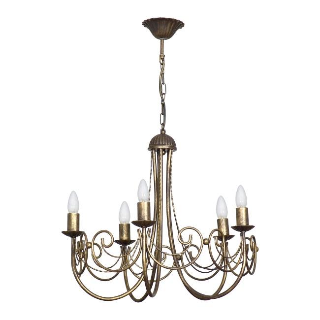 Lampa wisząca Palace 5 x 60 W E14 mosiądz/patyna