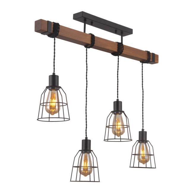 Lampa wisząca Reda 4 x 60 W E27 czarny drewno Lampy