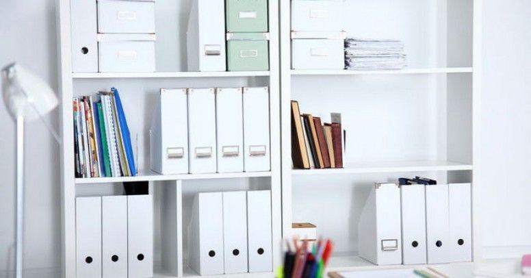 Domowe Biuro System Półek Połączony Z Biurkiem