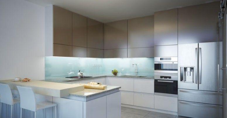 Wykańczanie ścian W Kuchni Za Pomocą Szklanych Paneli