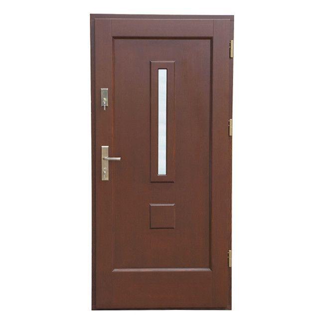 Drzwi Zewnetrzne Drewniane Bary 90 Prawe Orzech Drzwi Zewnetrzne Castorama
