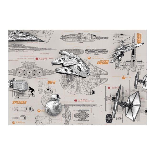 Fototapeta Star Wars Blueprints 368 x 254 cm