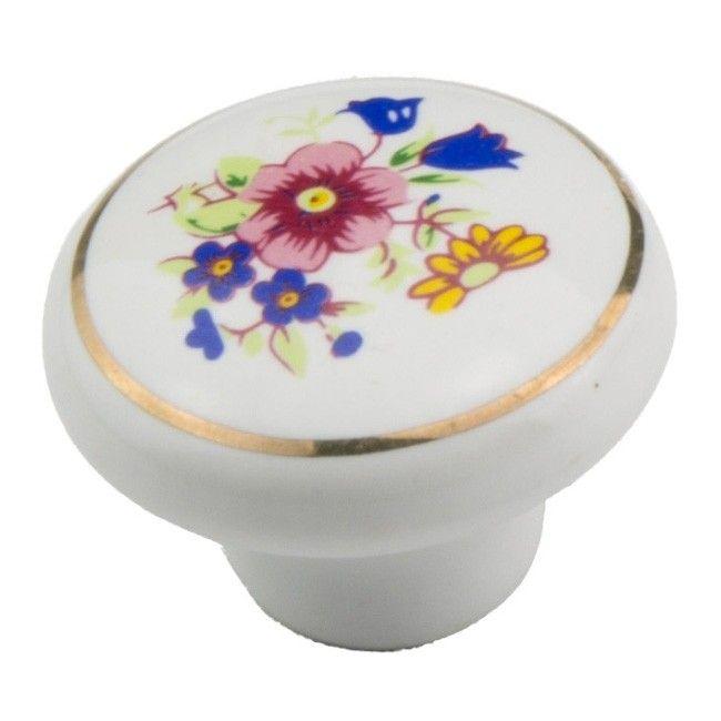 Galka Schaffner Porcelanowa Kwiat Biala Galki Castorama