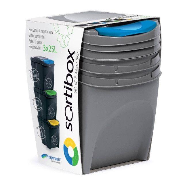 Kosz Do Segregacji Smieci Prosperplast Sortibox 3 X 25 L Szary Kosze Na Smieci Castorama