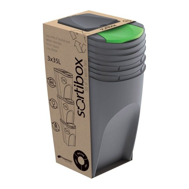 Kosz Do Segregacji Smieci Prosperplast Sortibox 3 X 35 L Szary Kosze Na Smieci Castorama