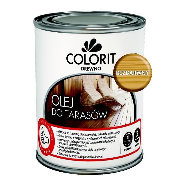 Olej Do Tarasów Colorit Drewno Bezbarwny 075 L