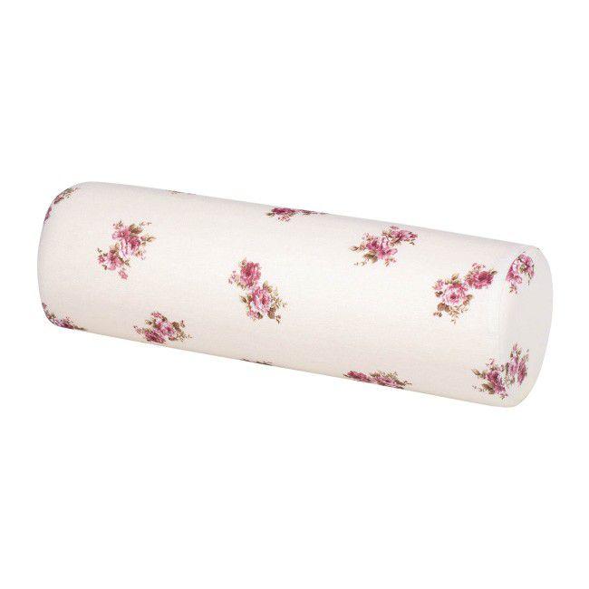 Poduszka wałek Patio fi 16 cm kremowy wzór kwiatowy