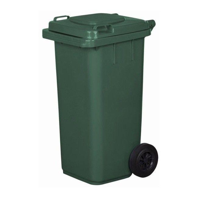 Bardzo dobryFantastyczny Pojemnik na odpady na kołach 120 l zielony - Pojemniki na odpady SI93