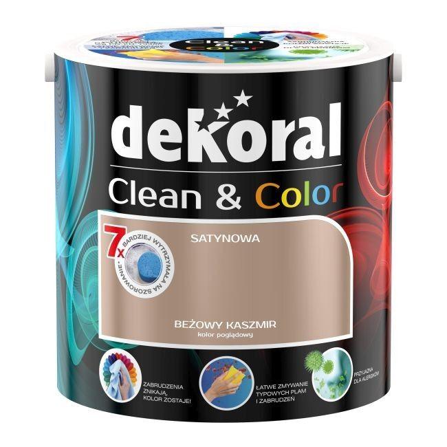 Satynowa farba lateksowa Dekoral Clean & Color beżowy kaszmir 2,5 l