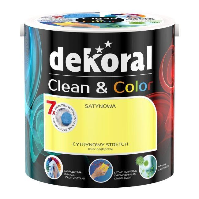 Satynowa farba lateksowa Dekoral Clean & Color cytrynowy stretch 2,5 l