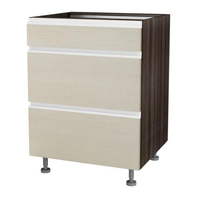 szafka kuchenna dolna z 3 szufladami malibu ds 60 3 kremowa szafki modu owe meble kuchenne. Black Bedroom Furniture Sets. Home Design Ideas