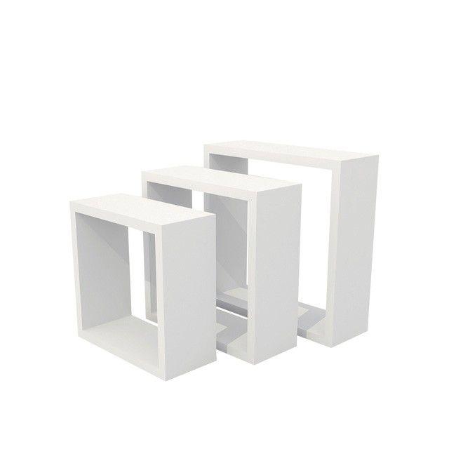 Zestaw 3 Półki Form Rigga Kubik Białe
