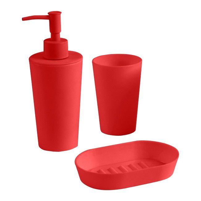 Zestaw Akcesoriów łazienkowych Cookelewis Palmi Czerwony