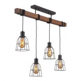 Lampa wisząca Reda 4 x 60 W E27 czarny / drewno