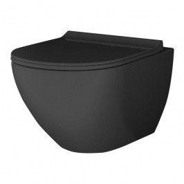 Miska WC wisząca MGP bezkołnierzowa z deską wolnoopadającą z duroplastu czarna
