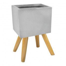 Osłonka doniczki kwadratowa na nogach zewnętrzna 30 cm szara