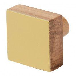 Wieszaczek drewniany GoodHome Nantua żółty