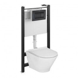 Zestaw podtynkowy WC Roca Heracles przycisk czarny