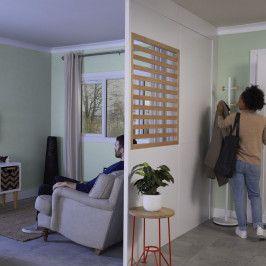 Zestaw ścianka modułowa GoodHome Alara do malowania z panelem żaluzjowym