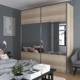 Zestaw szafa z drzwiami przesuwnymi Atomia 225 x 200 cm dąb / lustro