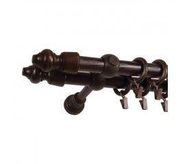 Karnisz podwójny Paola 200 cm brązowy