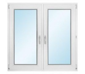 Okno PCV rozwierne + rozwierno - uchylne 1165 x 1135 mm symetryczne