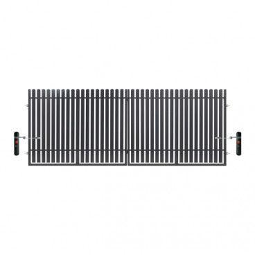 Brama dwuskrzydłowa z automatem Polbram Steel Group Daria 2 400 x 150 cm