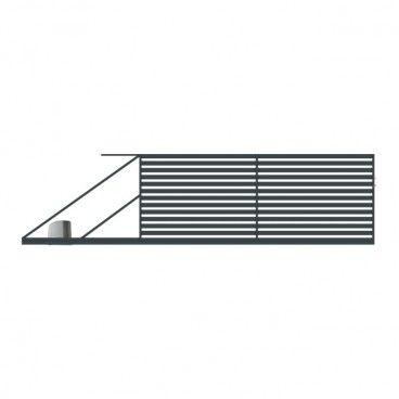 Brama przesuwna z automatem Polbram Steel Group Lara 400 x 154 cm lewa