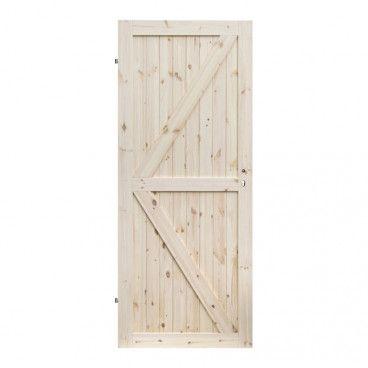 Drzwi pełne Barn 90 lewe sosna sęczna kształt K