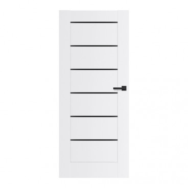 Drzwi pokojowe Toreno 90 prawe białe z czarnymi szybkami