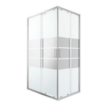 Kabina prysznicowa prostokątna GoodHome Beloya 80 x 120 x 195 cm chrom/szkło lustrzane