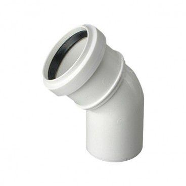 Kolano kanalizacyjne bose Pipelife Comfort 40 mm 45° białe