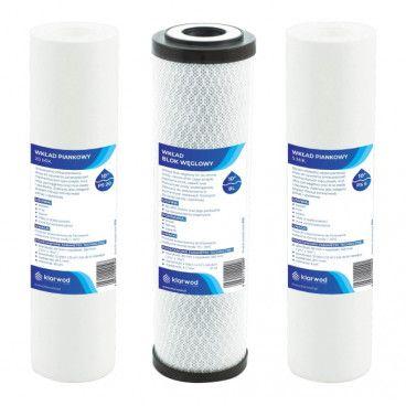 Komplet wkładów do filtrów Klarwod do systemu odwróconej osmozy
