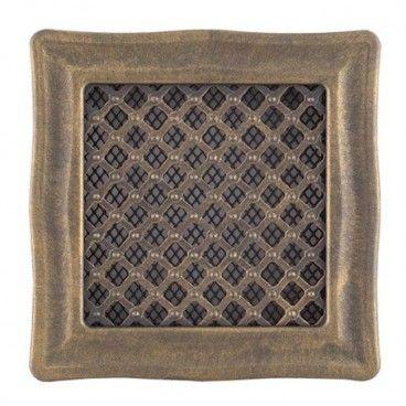 Kratka kominkowa Parkanex Deco złota patyna 16 x 16 cm