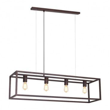 Lampa wisząca Frame 4 x 60 W E27 mosiądz
