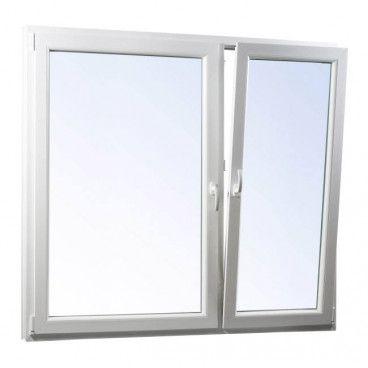 Okno PCV rozwierne + rozwierno-uchylne trzyszybowe 1465 x 1135 mm asymetryczne białe