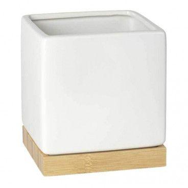Osłonka doniczki Bamboo kwadratowa 16 cm biała