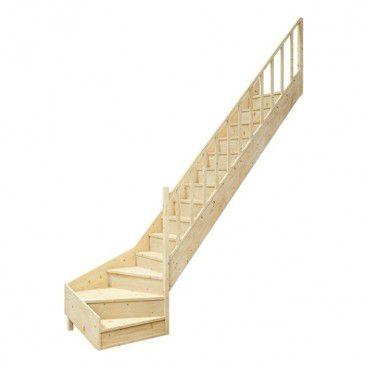 Schody drewniane z zabiegiem EQD 080RC prawe