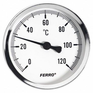 "Termometr bimetaliczny Ferro 0-120 63 mm 1/2"" Axial"