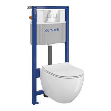 Zestaw podtynkowy WC Cersanit Bari bezkołnierzowy przycisk pneumatyczny chrom