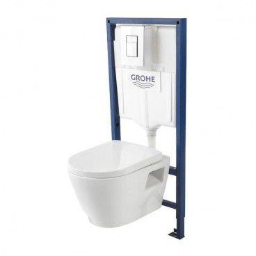 Zestaw podtynkowy WC Grohe Serel z miską bezkołnierzową i wolnoopadającą deską