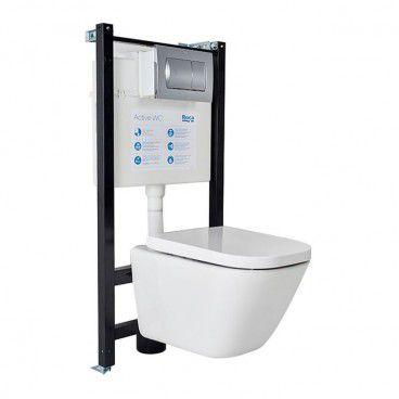 Zestaw podtynkowy WC Roca Active Gap z miską i deską wolnoopadającą