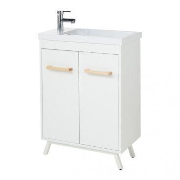 Zestaw szafka Ladoga biała 60 cm z umywalką Makonda