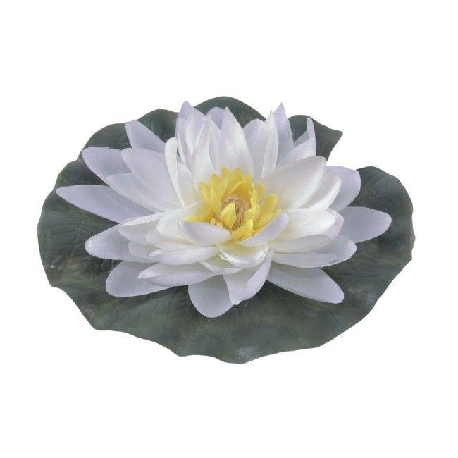 Lilia wodna jedwabna Greenmill fi 15 cm biała